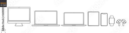 Fototapeta Device Icons Set: Desktop Computer, Laptop, Tablet and Smartphone, Watch, Earpods. Outline illustration for Web and App. Stock Vector obraz
