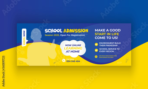 Cuadros en Lienzo kids school education social media post banner design or web banner design template