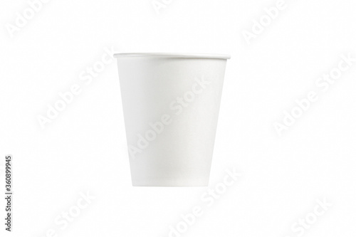 Fototapeta Paper white cup on a white background