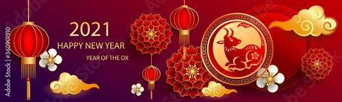 Foto Happy new year 2021 / Chinese new year / Year of the ox / Zodiac sign for greetings card, invitation, posters, brochure, calendar, flyers, banners