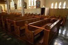 Catholic Church Pews Cordoned Off For Coronavirus Social Distancing