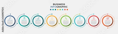 Business Infographic design template Vector with icons and 8 eight options or steps Canvas Print