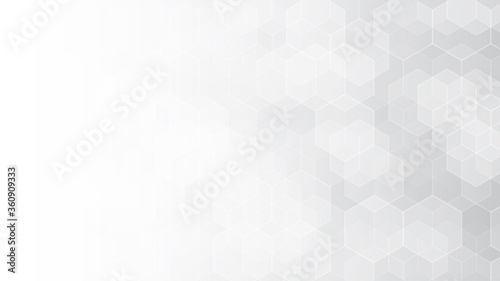 Abstract white hexagon background. Hexagonal pattern. Gray gradient backdrop. Neutral business presentation template. Monochrome wallpaper. Chemistry concept. Carbon organic formula. Honeycomb vector