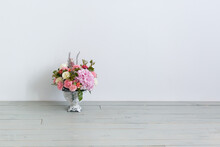 Vase With Beautiful Bouquet On...
