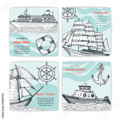 Cuadros en Lienzo Hand drawn nautical banner set
