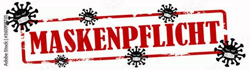 Stampa su Tela CORONAVIRUS - Roter zerkratzter Stempel, mit den Worte: MASKENPFLICHT und Virus