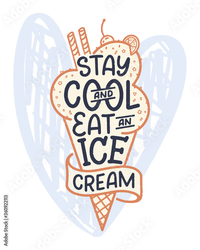 Fototapeta Hand drawn lettering composition about Ice Cream
