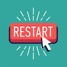 Cool Vector Restart Button With Cursor In Flat Design. Ideal For Social Media Content Updates