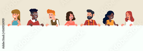 Flat style vector concept on collective message with cheerful diverse group of abstract people line up holding empty white horizontal banner