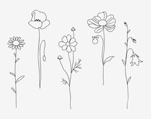 Set Of Decorative Hand Drawn Flowers Isolated On Grey. Vector Illustration.