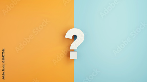 Fotomural White question mark sign on yellow and blue Background, 3d render, minimal and copy space
