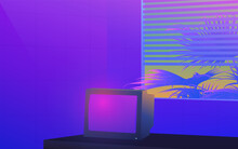 Vaporwave Neon Ambience Room And Vintage CRT TV With Venetian Blind Windows And Tropical Palm Tree, Ultra Violet Nostalgic Feelings