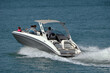 High-end motorboat on the Florida Intra-Coastal Waterway off of Miami Beach.