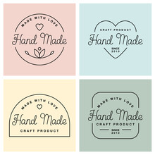 Set Labels Or Logos With Lettering Hand Made. Vector Flat Illustrations. Modern And Stylish Badges.