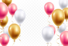 Realistic Festive Balloons Isolated On Transparent Background. White, Pink And Gold Helium Balloons With Depth Blur Effect. Design Element For Party, Grand Open, Wedding, Etc. Vector Illustration.
