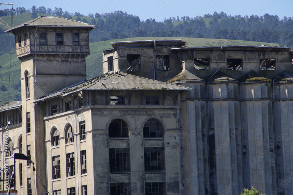 Abandoned industrial factory in the estuary of Bilbao