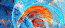 Abstract Painting Color Texture. Blue And Orange Pattern. Paint Background. Fractal Artwork For Creative Graphic Design