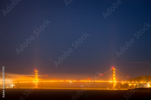 The Golden Gate Bridge at night, viewed from Angel Island.
