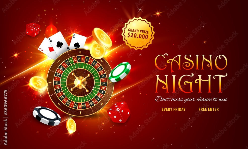Fototapeta Internet casino landing page. Roulette and poker playing cards, golden coins, grand prize or jackpot sticker, red dice and various chips on sparkling red background. Online casino web vector banner
