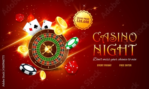 Fototapeta Internet casino landing page. Roulette and poker playing cards, golden coins, grand prize or jackpot sticker, red dice and various chips on sparkling red background. Online casino web vector banner obraz