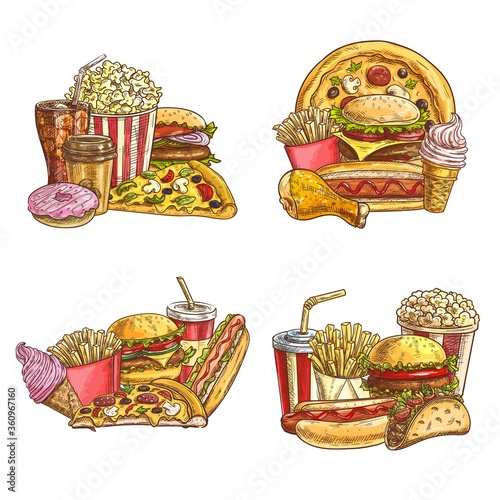 Takeaway fast food sketch. Vector fastfood pizza slice, hot dog and mexican tacos, cheeseburger, french fries and ice cream. Engraved iced soda drink, donut and popcorn. Fastfood snacks and drinks