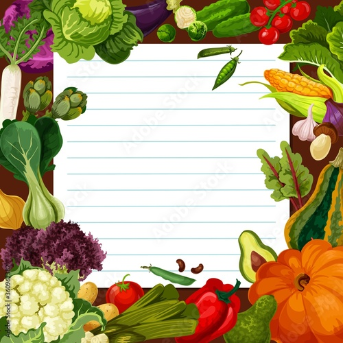 Vegetable meal salad recipe vector template. Radish and artichoke, cabbage and cauliflower, brussels sprout, potato and tomato, pumpkin, onion and mushroom. Piece of paper with vegetables #360967382