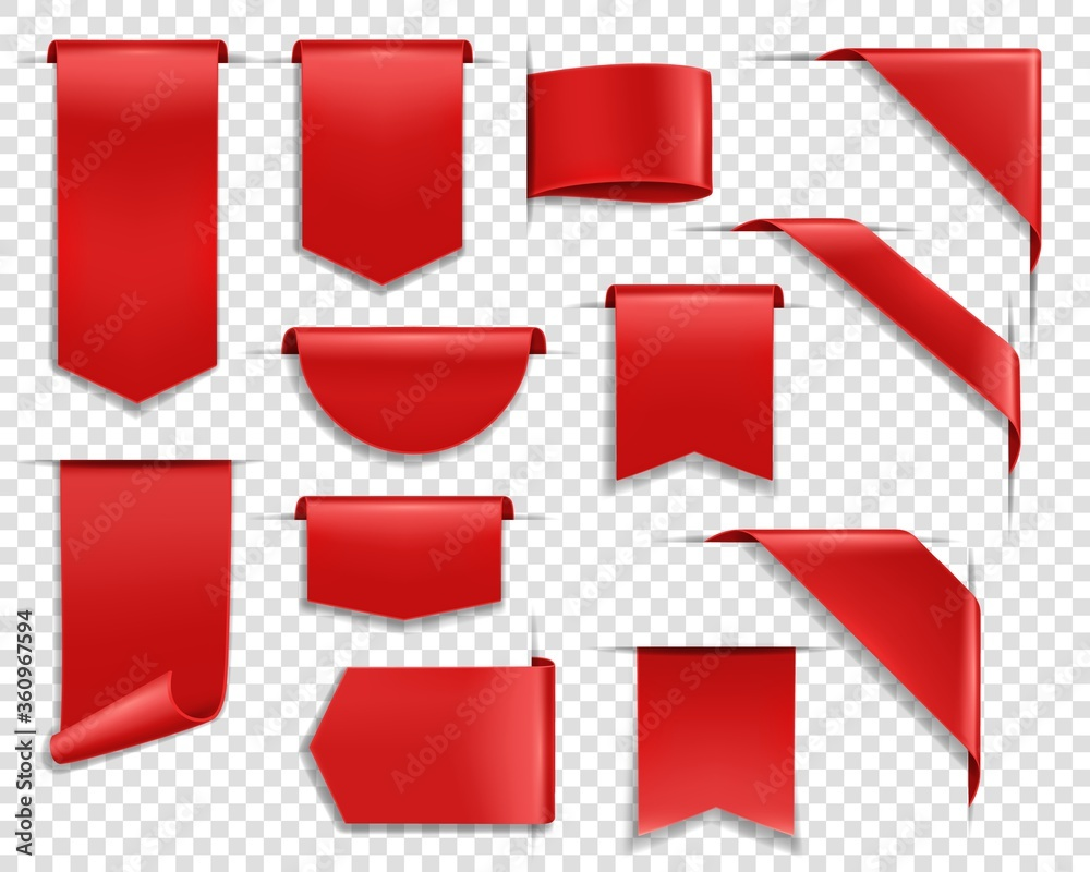 Fototapeta Red ribbons, labes and tags, banners and bookmark realistic vector set. Glossy silky ribbon, various shape blank price tags, web sale labels and web banners template hanging, sticking out and corner