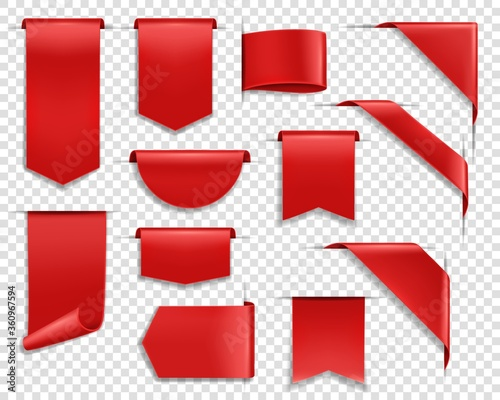 Red ribbons, labes and tags, banners and bookmark realistic vector set. Glossy silky ribbon, various shape blank price tags, web sale labels and web banners template hanging, sticking out and corner