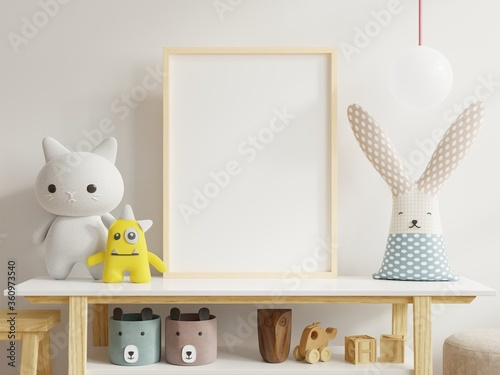 Fototapeta Mock up posters in child room interior, posters on empty white wall background. obraz