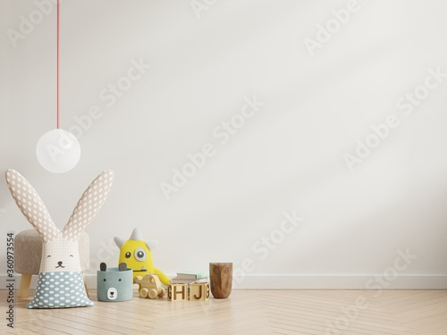 Foto Mockup wall in the children's room on wall white colors background