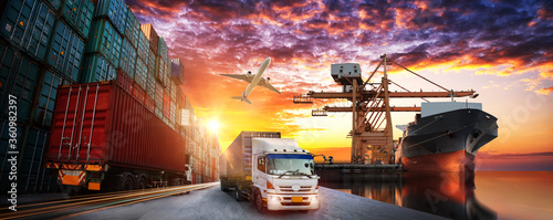 Logistics and transportation of Container Cargo ship and Cargo plane with workin Canvas Print