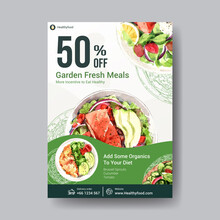 Poster Template With Healthy And Organic Food Design For Banner,brochure,leaflet And Advertisement Watercolor Vector Illustration