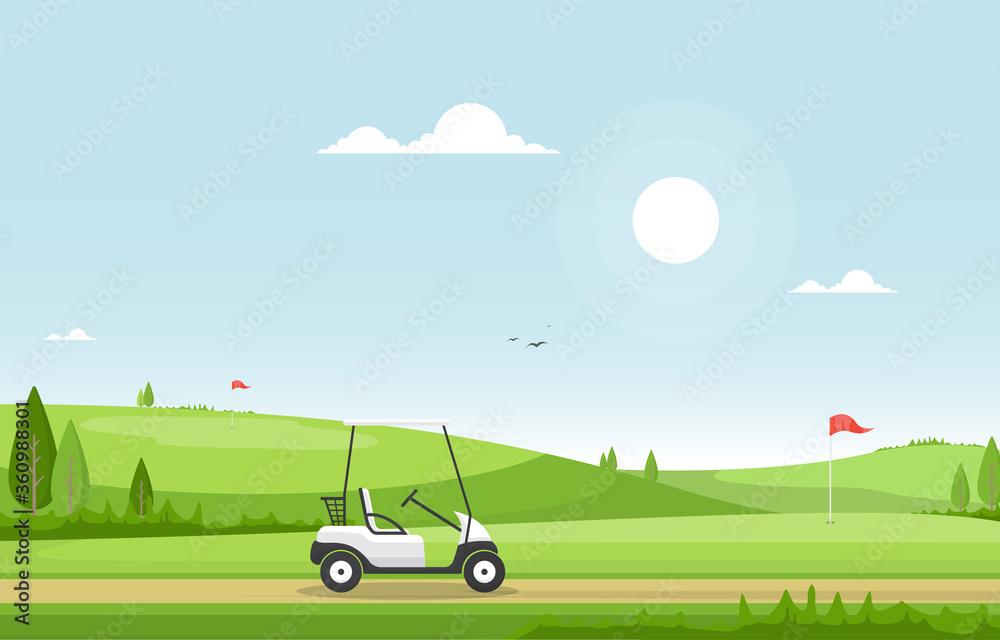 Fototapeta Golf Field Flag Cart Grass Tree Outdoor Sport Landscape
