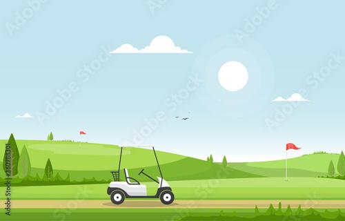 Fototapeta Golf Field Flag Cart Grass Tree Outdoor Sport Landscape obraz