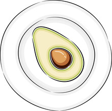 Hand Drawn Plate With Avocado....