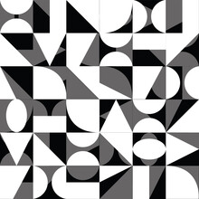 Abstract Geometric Black White Background With Squares Triangles Rounds Gradient Textured Print