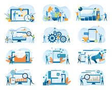 Set Business Flat Illustration Design Concept For Web Site Banner And Mobile Application Design