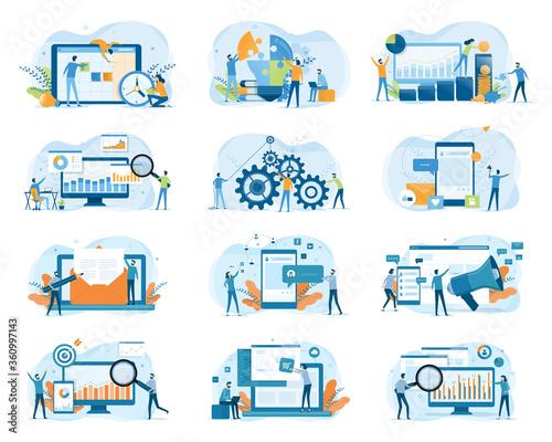 Set business Flat illustration design concept for web site banner and mobile application design  Wall mural