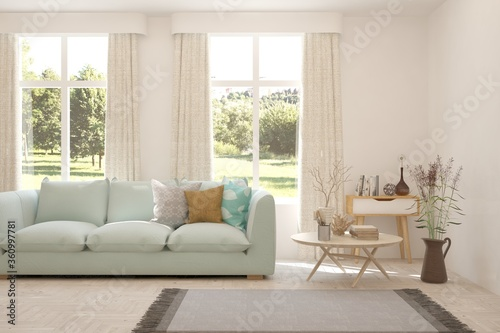 Fototapeta White living room with sofa and summer landscape in window. Scandinavian interior design. 3D illustration obraz na płótnie