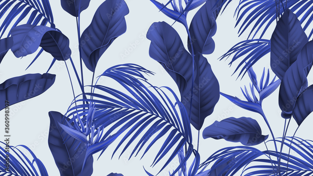 Fototapeta Floral seamless pattern, heliconia flowers with various leaves in blue