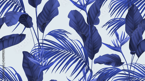 Obraz Floral seamless pattern, heliconia flowers with various leaves in blue - fototapety do salonu