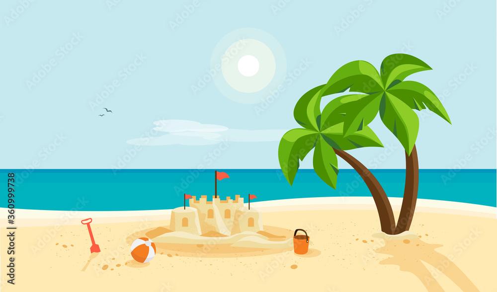 Fototapeta Lonely sand castle on sandy beach with palm tree and blue sea ocean coast line. Clear summer sunny sky in background. Kid toys left near sandcastle on holiday. Cartoon style flat vector illustration.