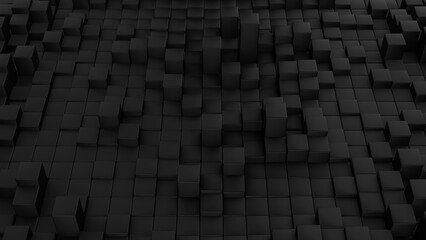 Minimalistic waves pattern made of cubes. Abstract Black Cubic Waving Surface Futuristic Background. 3d render illustration.