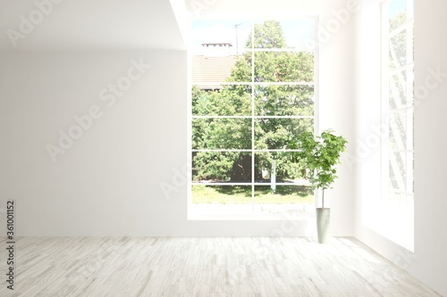 Fotomural White empty room with summer landscape in window