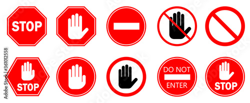 Fotografía Red STOP sign isolated. Vector Stop hand signs