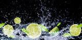 Fototapeta Fototapety do łazienki - Sliced lemon in the water on black background    Limonki w wodzie na czarnym tle