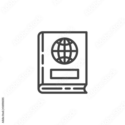 Fototapeta Geography book line icon. linear style sign for mobile concept and web design. Book with world globe outline vector icon. Symbol, logo illustration. Vector graphics obraz