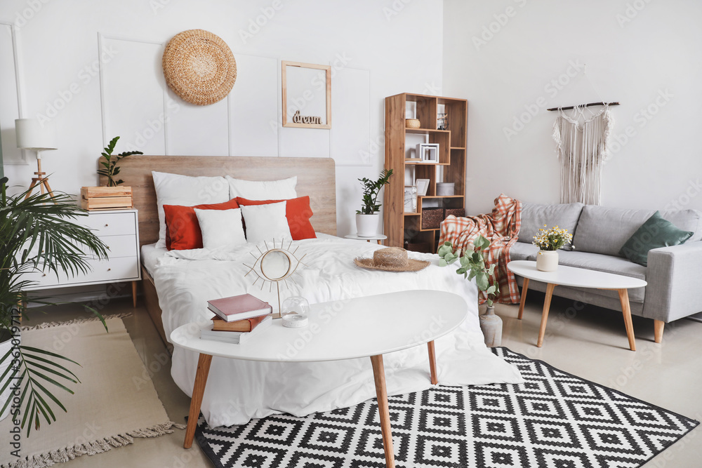 Fototapeta Stylish interior of modern bedroom