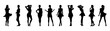 Set of beautiful a fashion girls in short dress. Silhouette of young woman. Vector illustration.