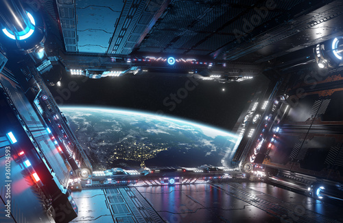 Photo Blue and red futuristic spaceship interior with window view on planet Earth 3d r
